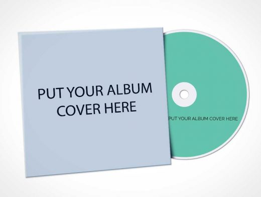 CD Album Cover Sleeve PSD Mockup
