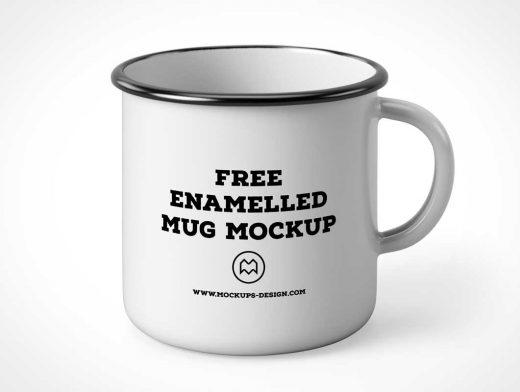 Camping Style Metal Enamel Mug PSD Mockup