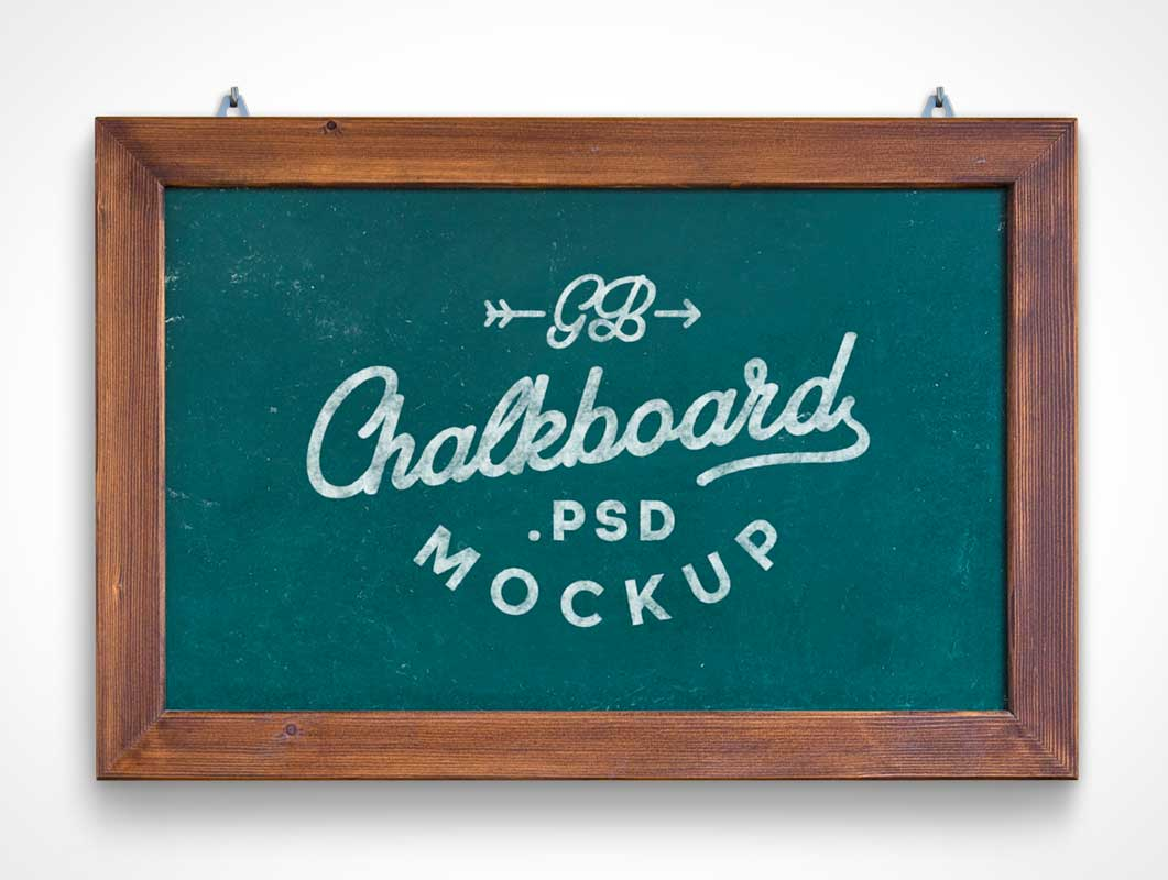 Chalkboard Hung On Wall PSD Mockup