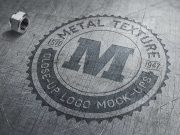 Close-Up Embossed Brused Metal Logo PSD Mockup