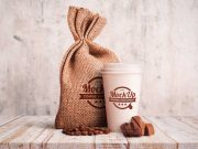 Coffee Bean Canvas Bag Stationary PSD Mockup