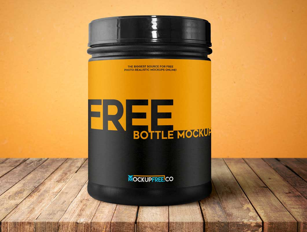 Container Bottle Sport Nutrition PSD Mockup