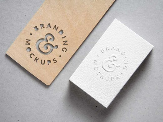 Cutout Wood & Embossed B-Card PSD Mockup