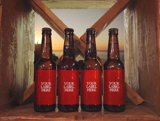 Deluxe Beer Wood Shelf Presentation PSD Mockup
