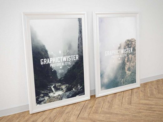 Double Silver Framed Posters Set Against Wall PSD Mockup