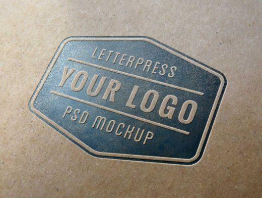 Embossed Letterpress Logo PSD Mockup