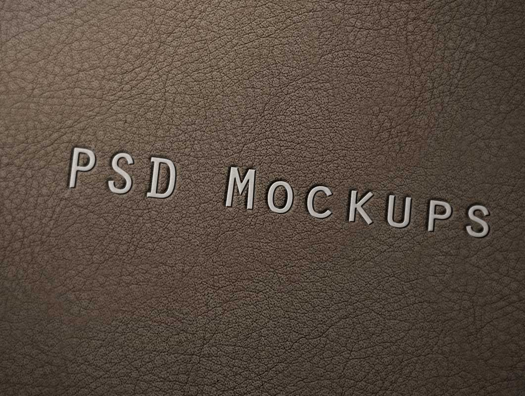 Embossed Logo Stamped Leather Branding PSD Mockup
