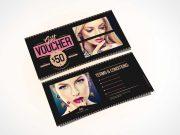 Fashion Gift Voucher Design Template PSD Mockup