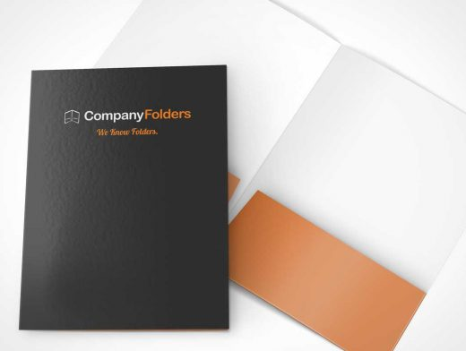 Folder Inside And Front Cover PSD Mockup