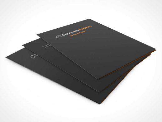 Folders Stacked At Low Angle PSD Mockup