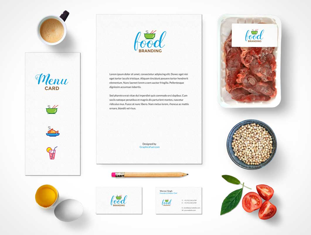 Food Branding & Stationery PSD Mockup