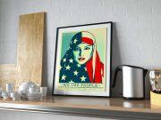 Framed Poster Kitchen Shelf Scene PSD Mockup