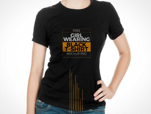 Girl Wearing Black T-Shirt PSD Mockup
