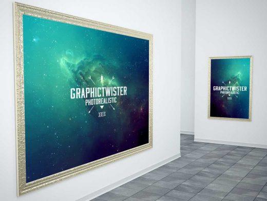 Gold Poster Frames Gallery Scene PSD Mockup