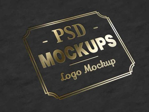 Gold Stamp Leger Lettering PSD Mockup