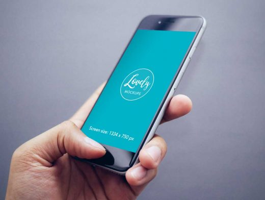 Hand-held iPhone Closeup In Use PSD Mockup