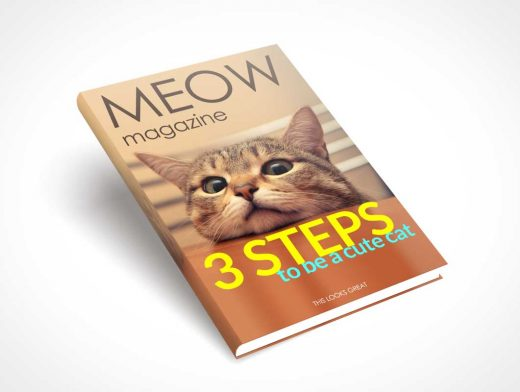 Hardcover Cat Book PSD Mockup