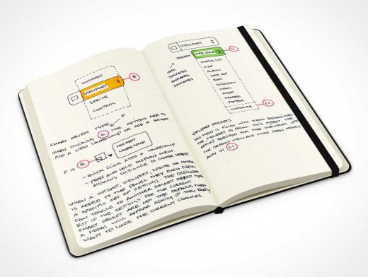 Hardcover Moleskine Sketch Notebook PSD Mockup