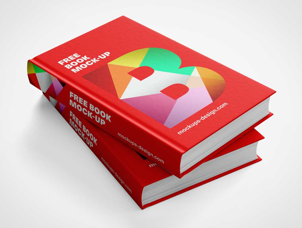 Hardcover Textbooks Stack PSD Mockup