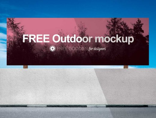 Horizontal Billboard Advertising PSD Mockup