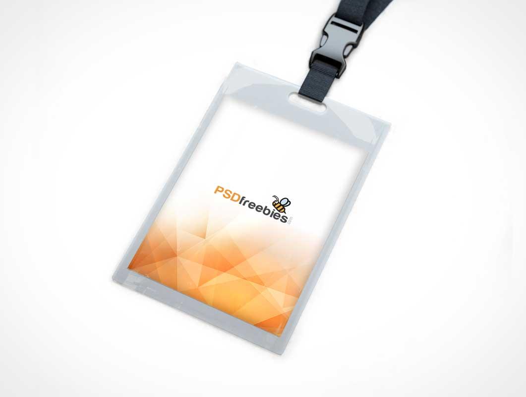 Identity Card Holder Clip Lanyard PSD Mockup