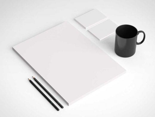 Isometric Stationery Letterhead & Mug PSD Mockup