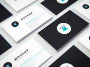 Isometric Wall Of Business Cards PSD Mockup