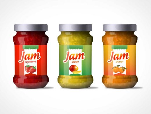 Jam Jar Bottle Label Design PSD Mockup
