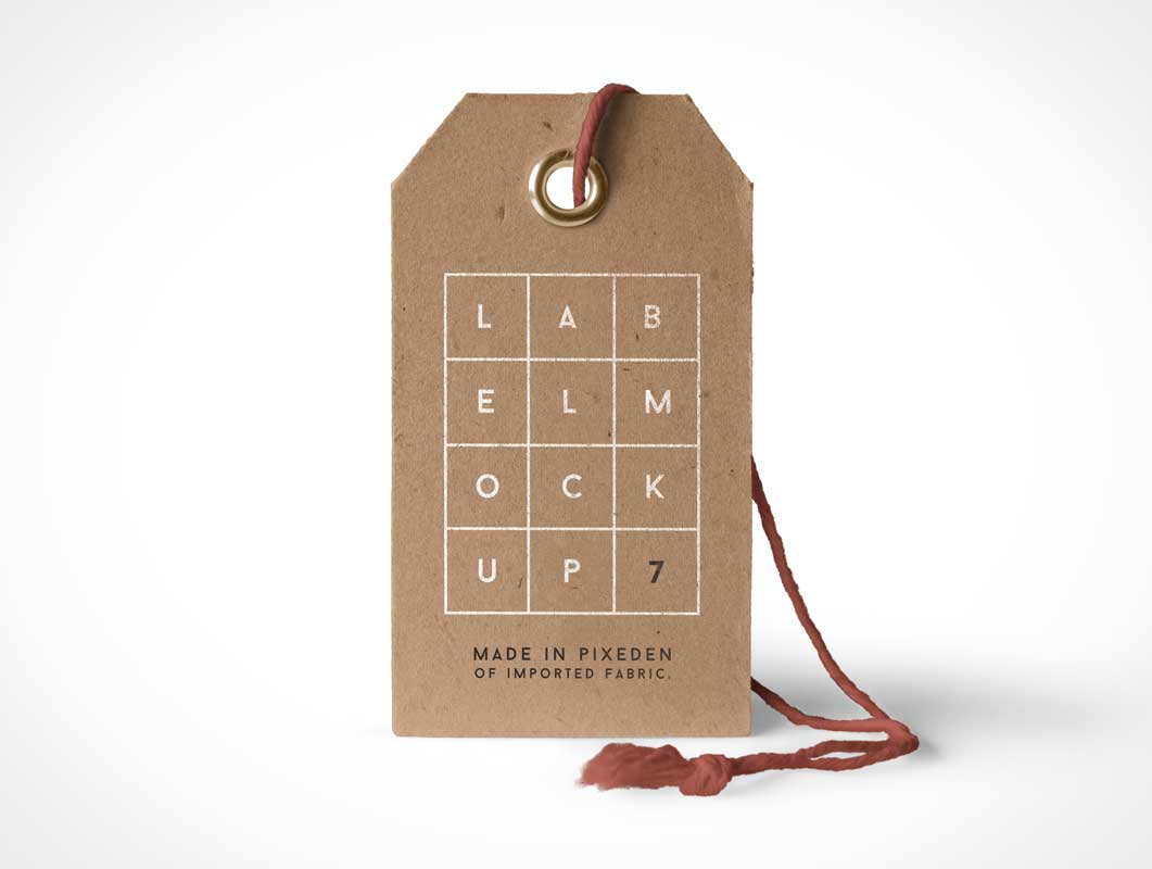 Label Brand Product Tag With Grommet And String PSD Mockup