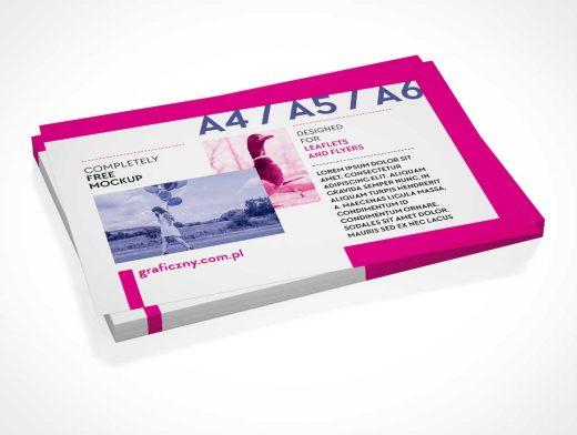 Landscape Mode Leaflet Stack Pile PSD Mockup
