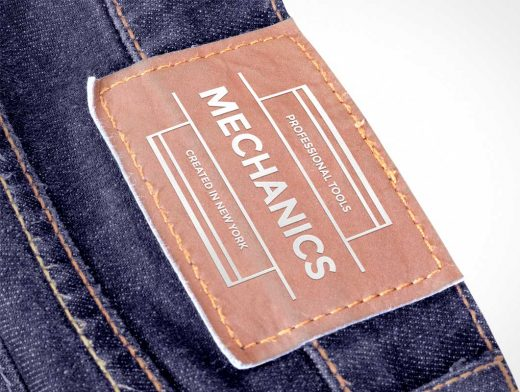 Leather Brand Label For Jean Pants PSD Mockup