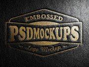 Leather Ledger Cover Stamping Logo PSD Mockup