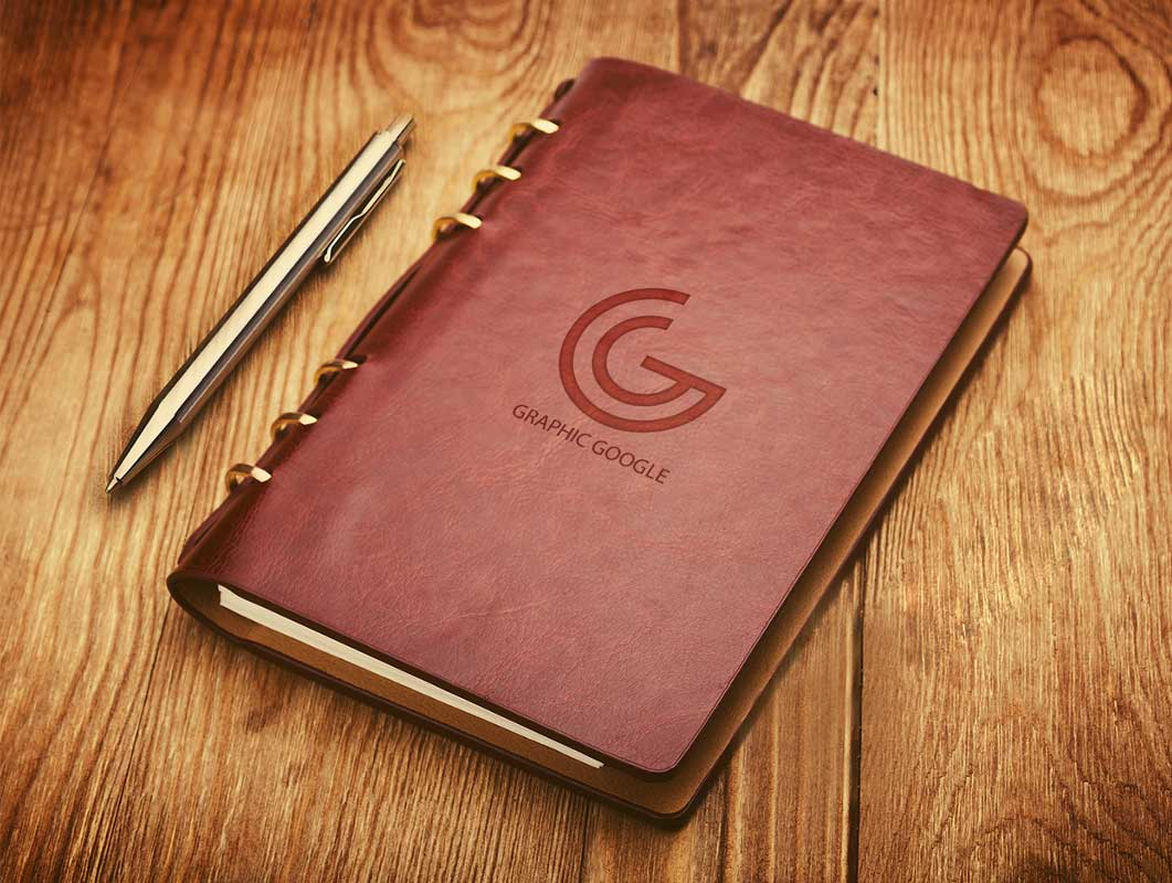 Leather Notebook Cover With Embossed Logo PSD Mockup