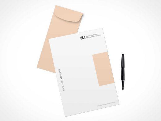 Letter, Pen & Envelop PSD Mockup