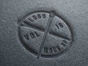 Linen Fabric Pressed Logo PSD Mockup