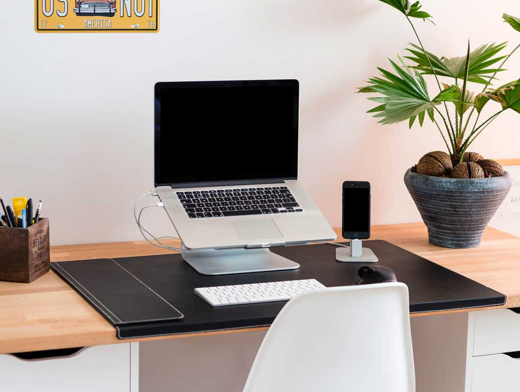 Macbook Pro-iPhone Desk Setup PSD Mockups
