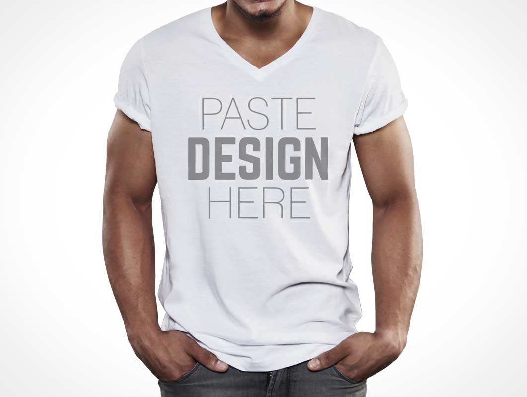 T shirt white mockup - Male Model T Shirt Bundle Psd Mockup