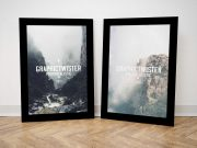 Matching Twin Black Picture Frames PSD Mockup