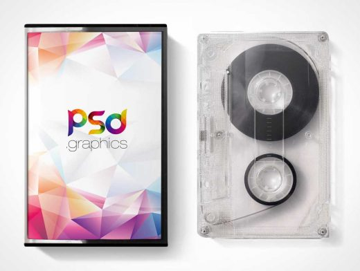 Mix Tape & Cassette Case Cover PSD Mockup