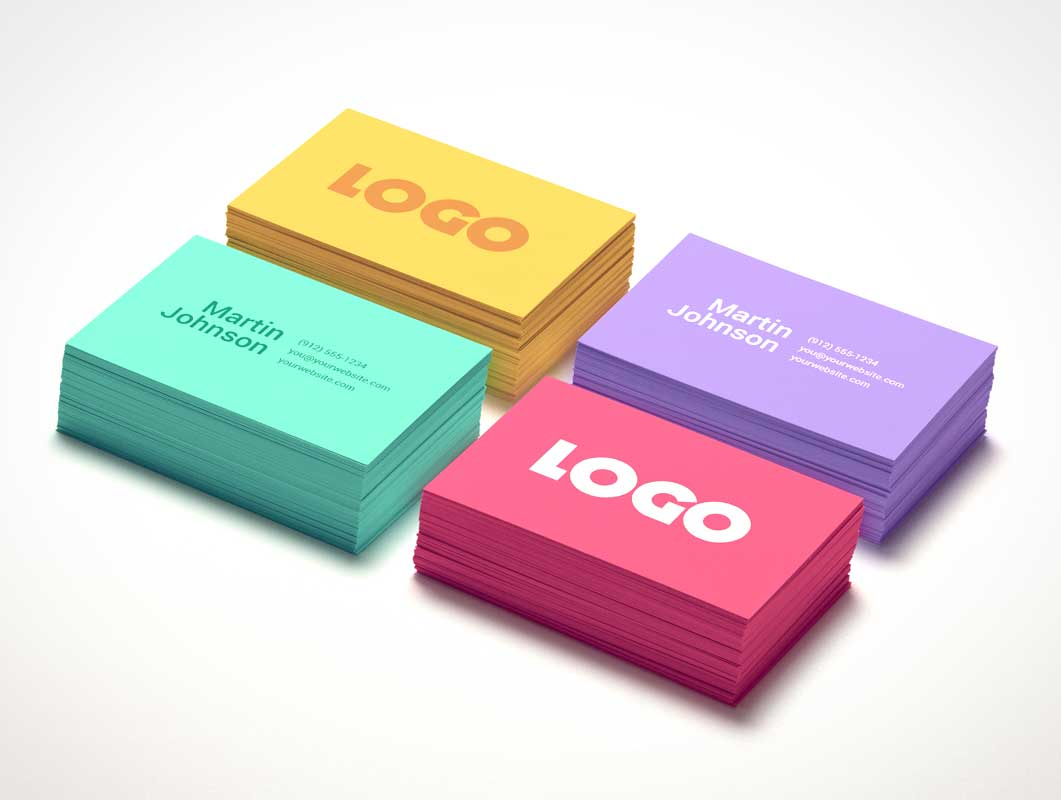 Multiple Business Card Stacks PSD Mockup