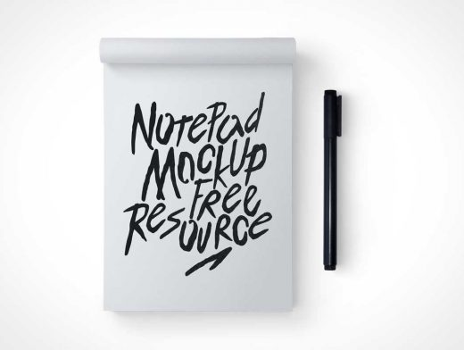 Notepad Face On Top View PSD Mockup