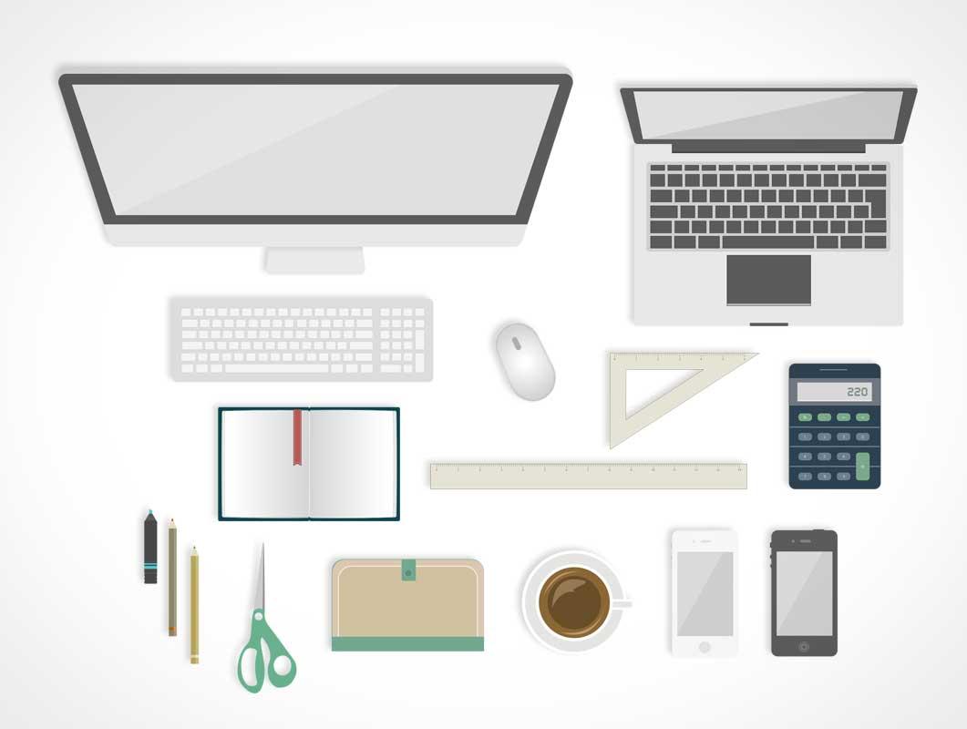 Office Desk Flat Design Styled Items PSD Mockup