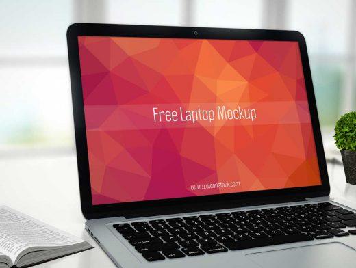 Office Laptop Display PSD Mockup