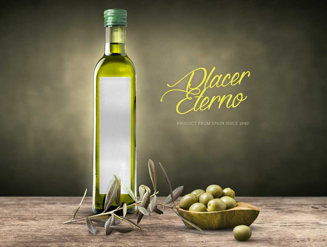 Olive Oil & Vinegar Bottle Label PSD Mockup