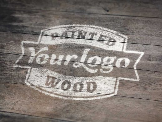 Painted Wood Boards Logo PSD Mockup