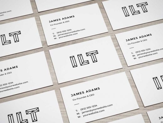 Perspective Business Card Wall PSD Mockup