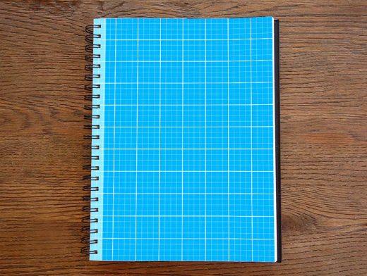 Photorealistic Grid Sketchbook PSD Mockup