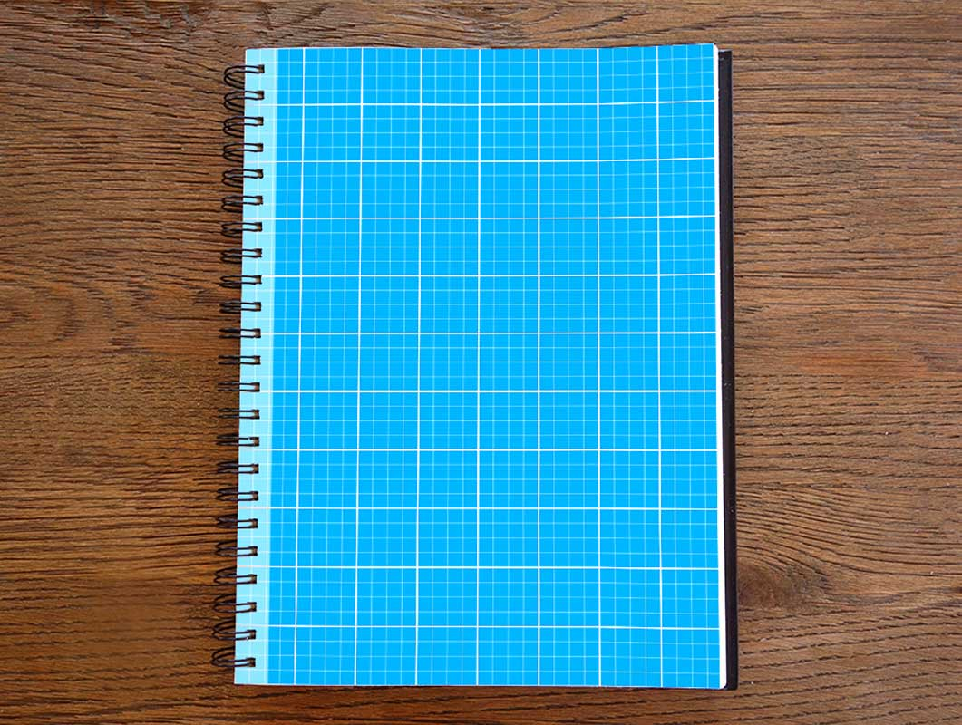 Photorealistic Grid Sketchbook PSD Mockup