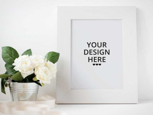 Picture Frame & White Rose Flowers PSD Mockup