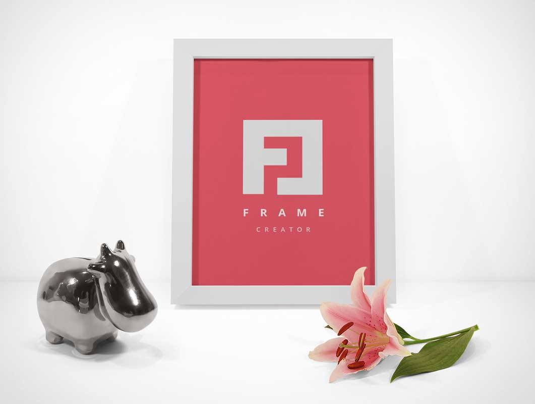 Picture Frame With Trinkets PSD Mockup